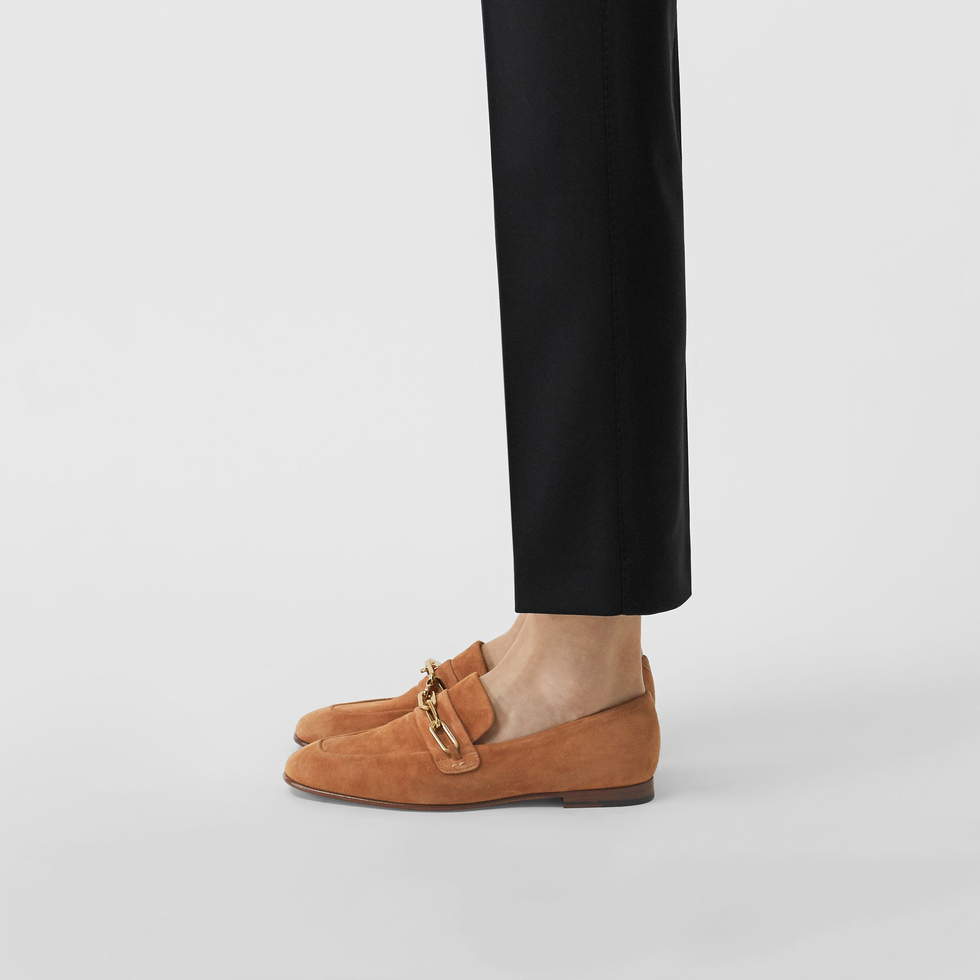 Link Detail Suede Loafers in Mid Camel - Women | Burberry - gallery image 2