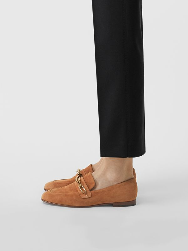 Link Detail Suede Loafers in Mid Camel - Women | Burberry United Kingdom - cell image 2