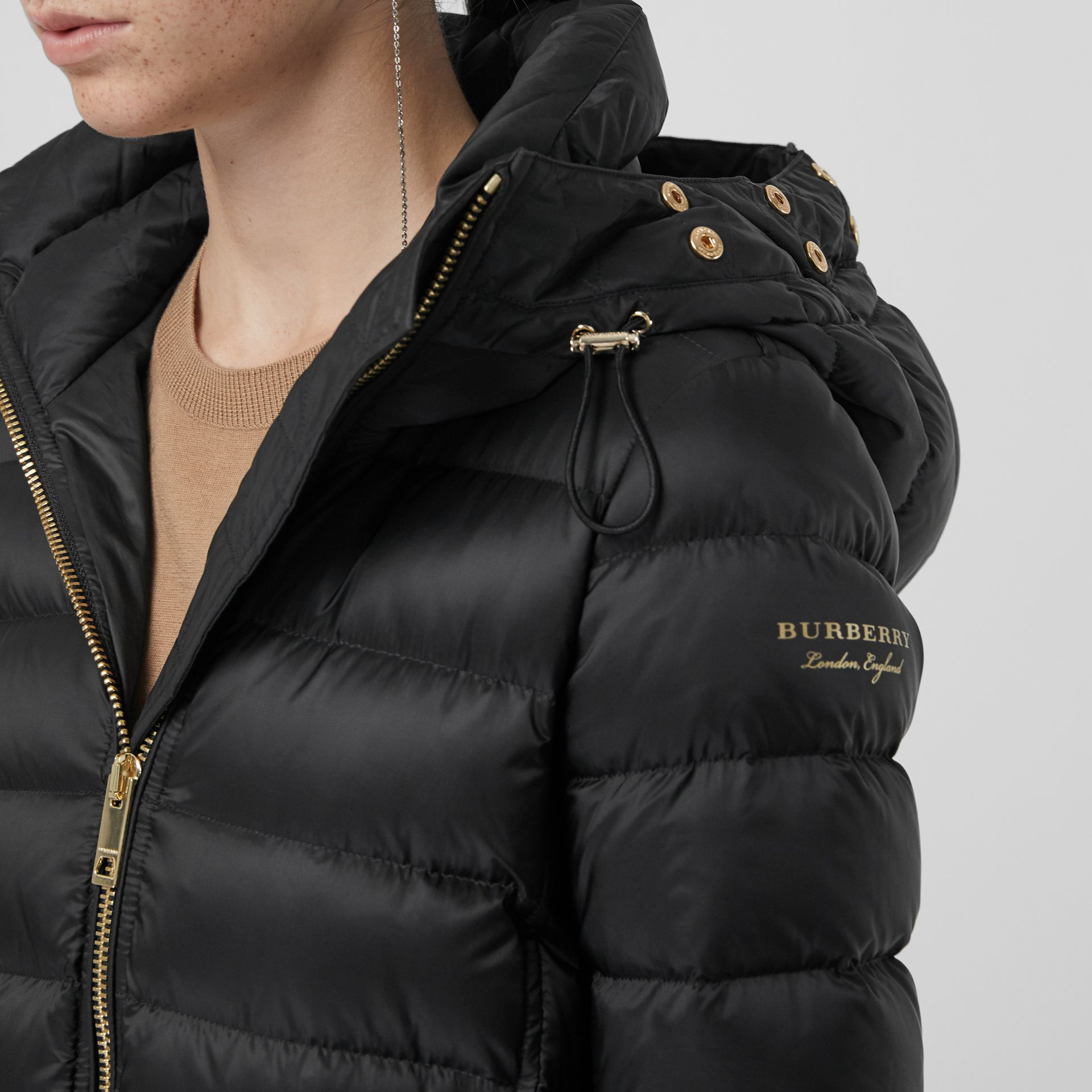 Detachable Fur Trim Down-filled Puffer Coat with Hood in Black - Women | Burberry - gallery image 6