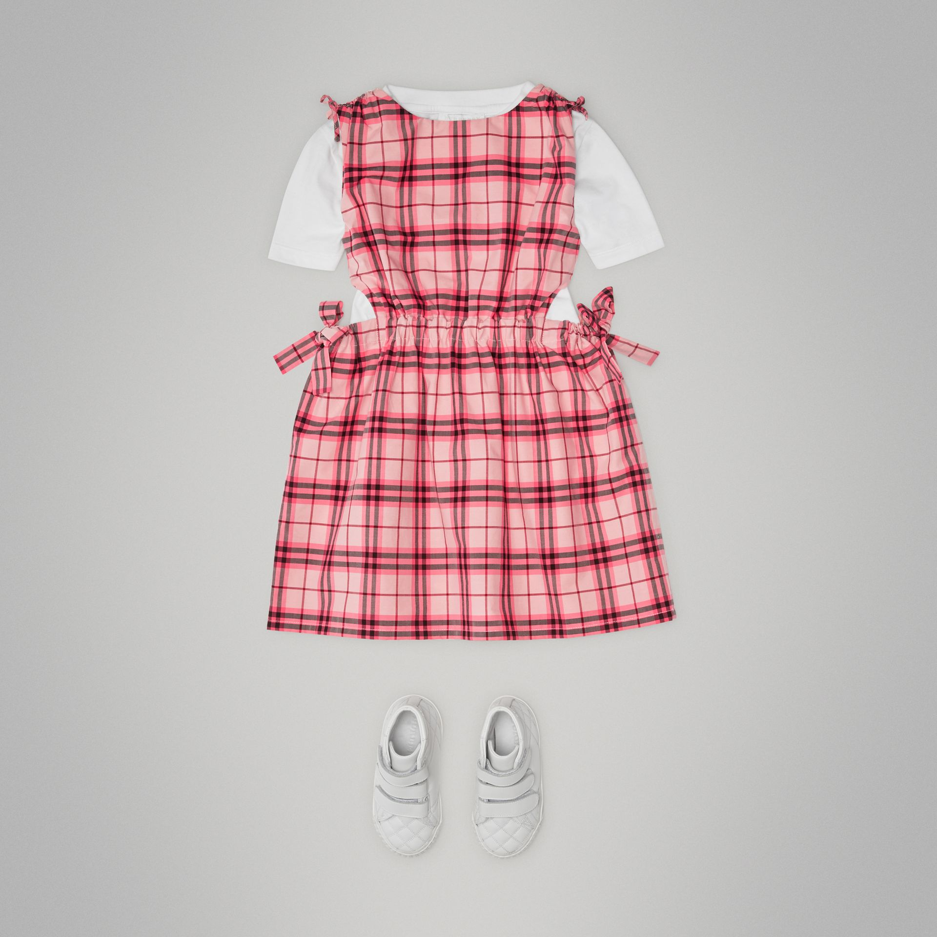 Tie Detail Check Cotton Dress in Bright Rose - Girl | Burberry - gallery image 2