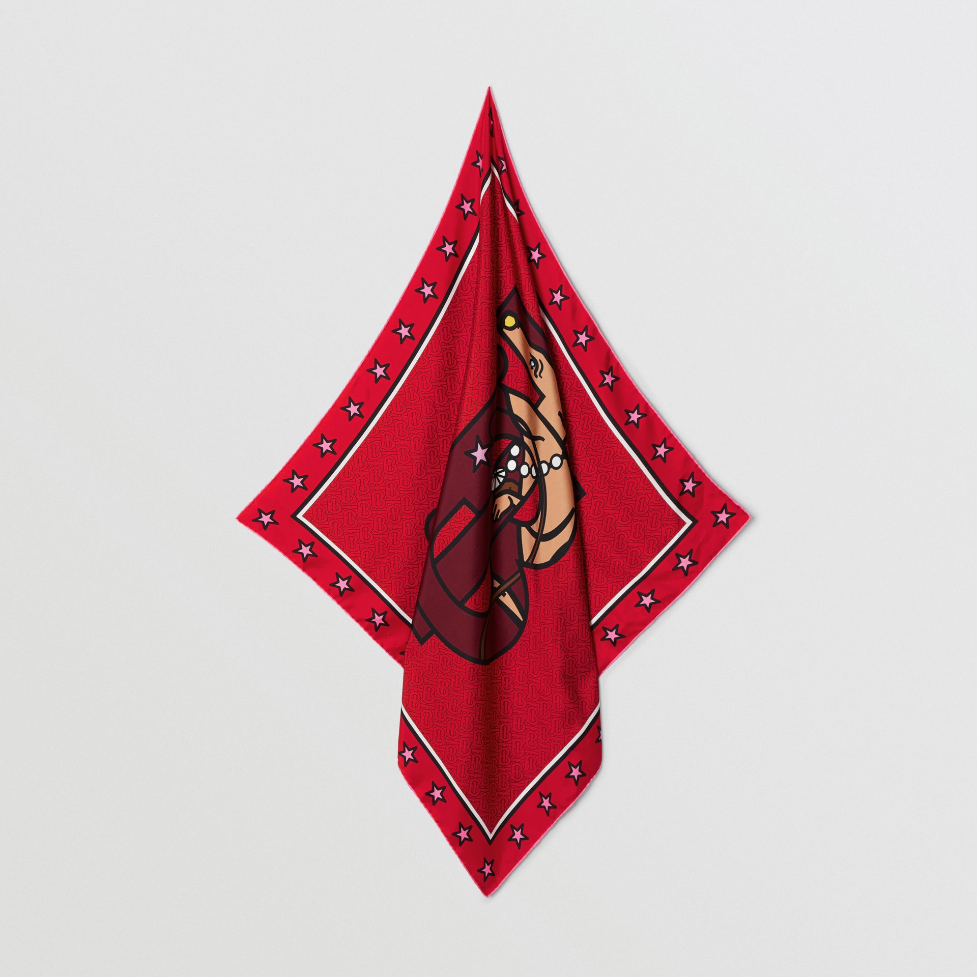 Monogram Motif Silk Square Scarf in Bright Red | Burberry - gallery image 4