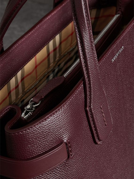 The Medium Banner in Leather and Vintage Check in Mahogany Red - Women | Burberry - cell image 3