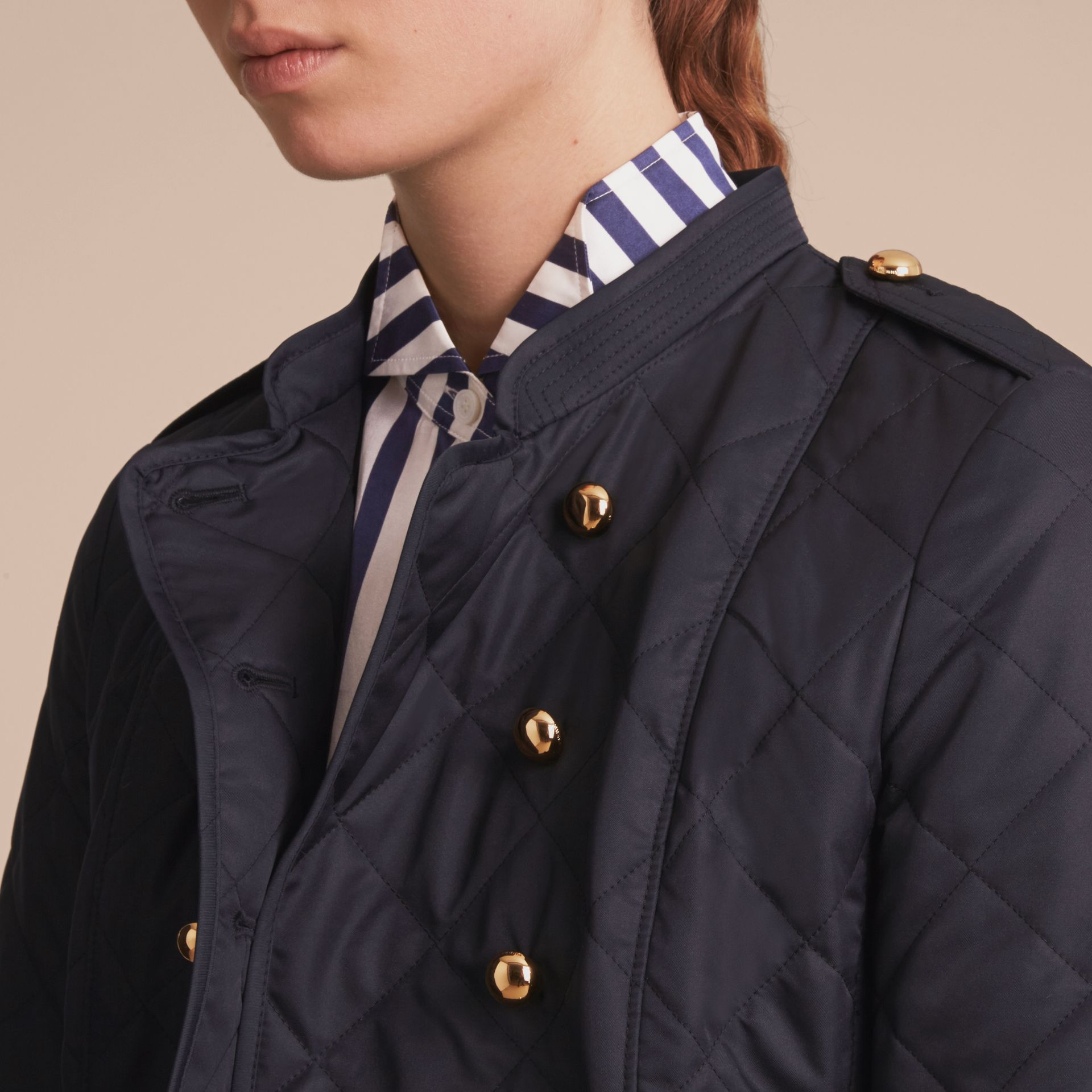 Double-breasted Quilted Military Jacket Navy - gallery image 5