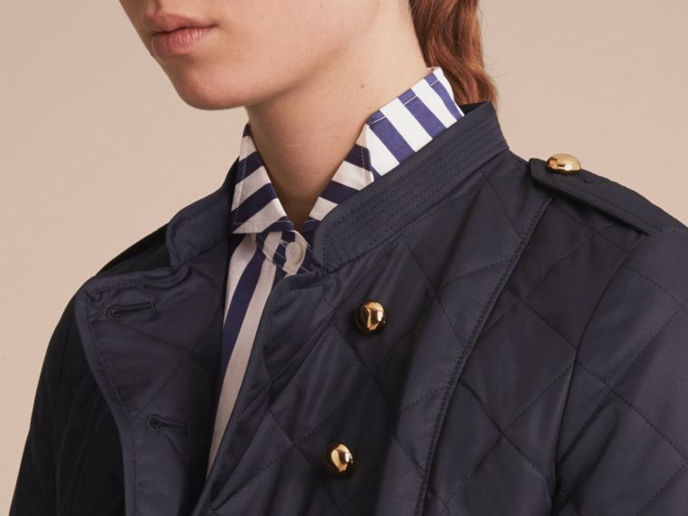 Double-breasted Quilted Military Jacket Navy - cell image 4