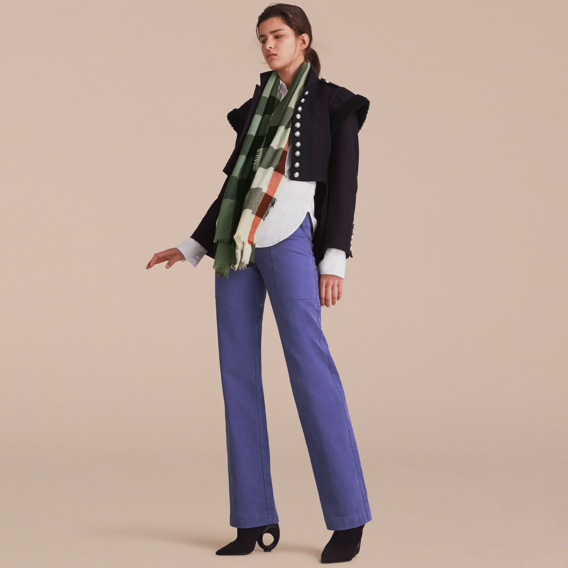 The Lightweight Cashmere Scarf in Ombré Check Apple Green - gallery image 3