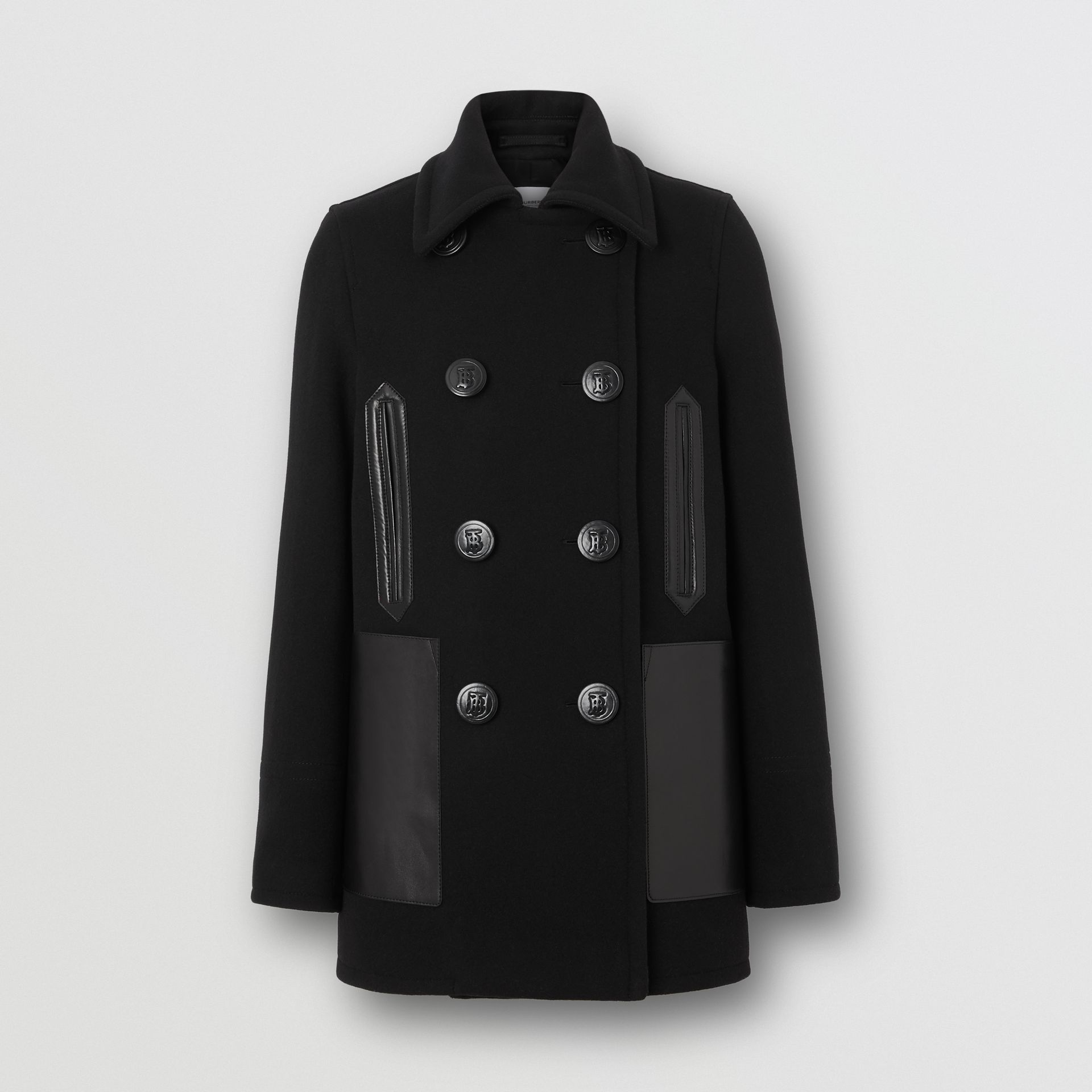 Lambskin Pocket Wool Blend Pea Coat in Black - Women | Burberry - gallery image 3