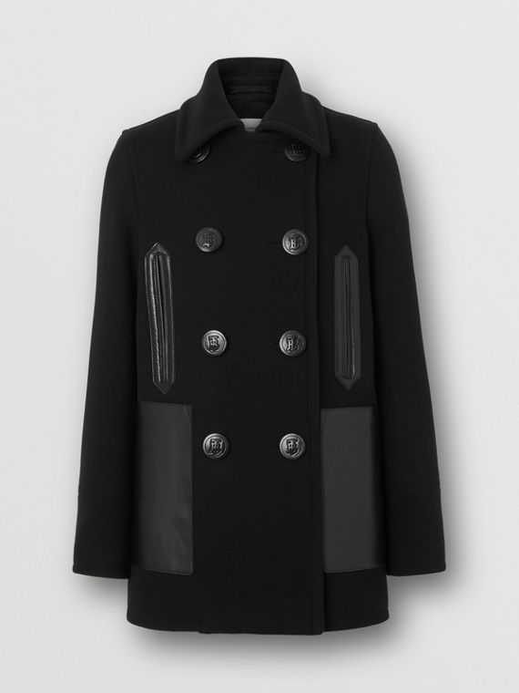 Lambskin Pocket Wool Blend Pea Coat in Black