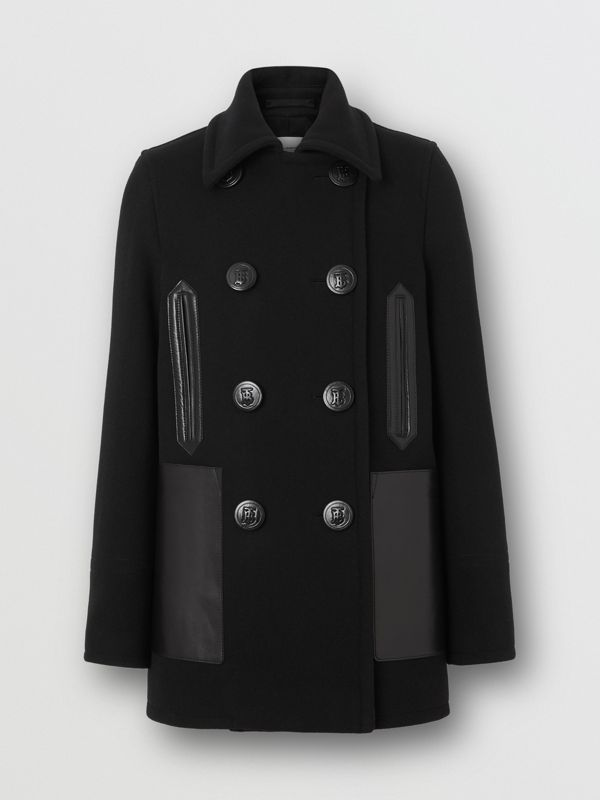 Lambskin Pocket Wool Blend Pea Coat in Black - Women | Burberry - cell image 3