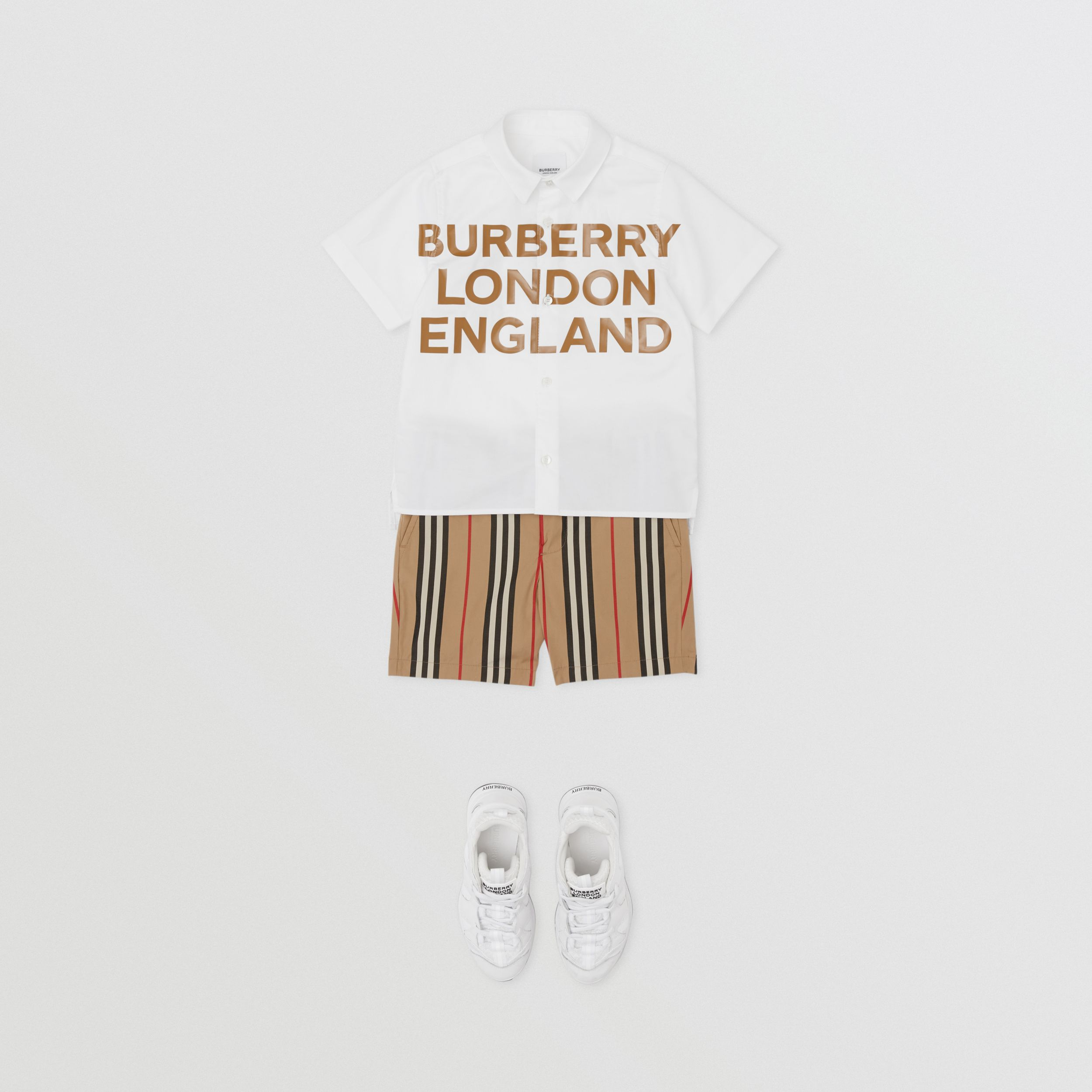 Short-sleeve Logo Print Cotton Oxford Shirt in White - Children | Burberry - 3