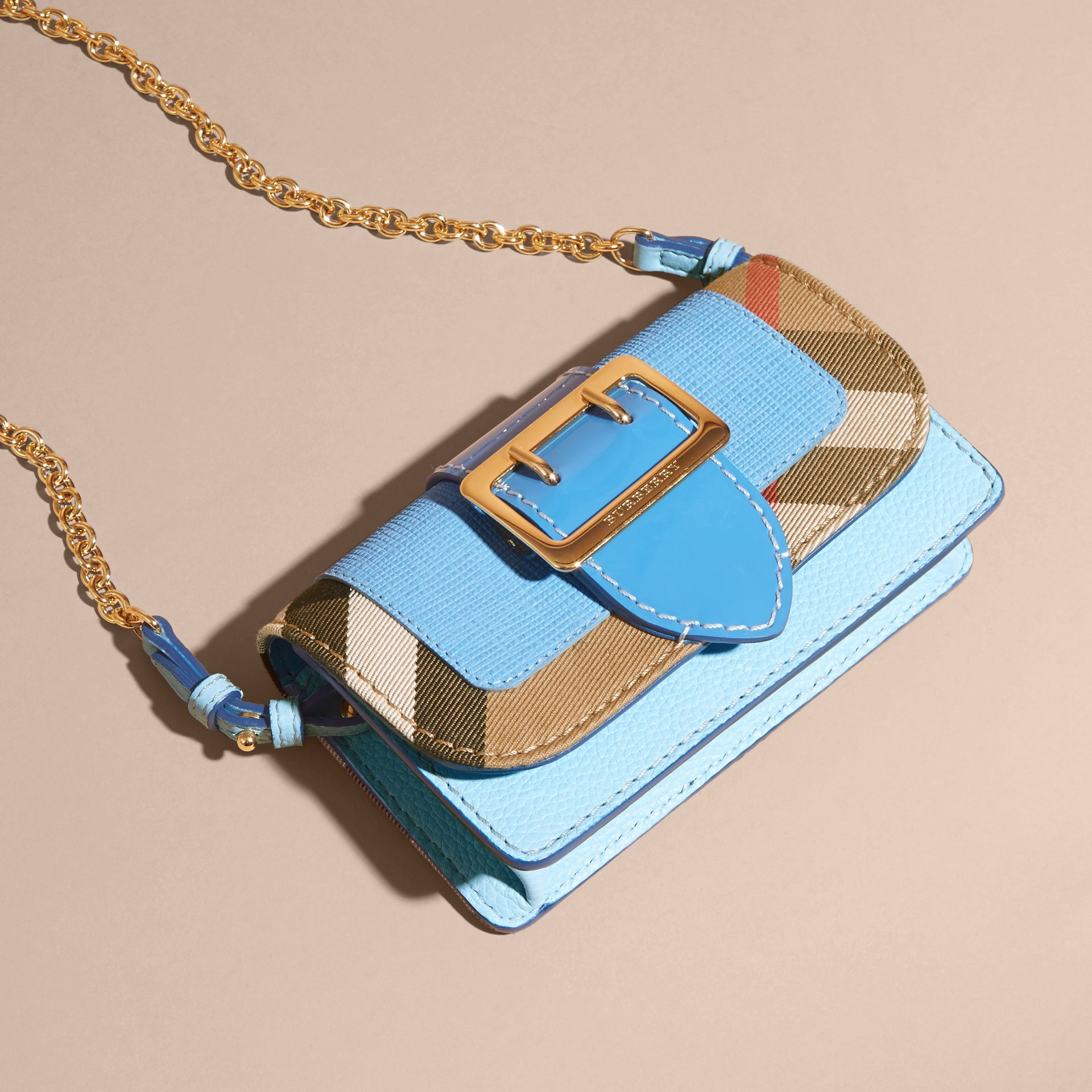 Bright mineral blue The Mini Buckle Bag in Leather and House Check Bright Mineral Blue - gallery image 8