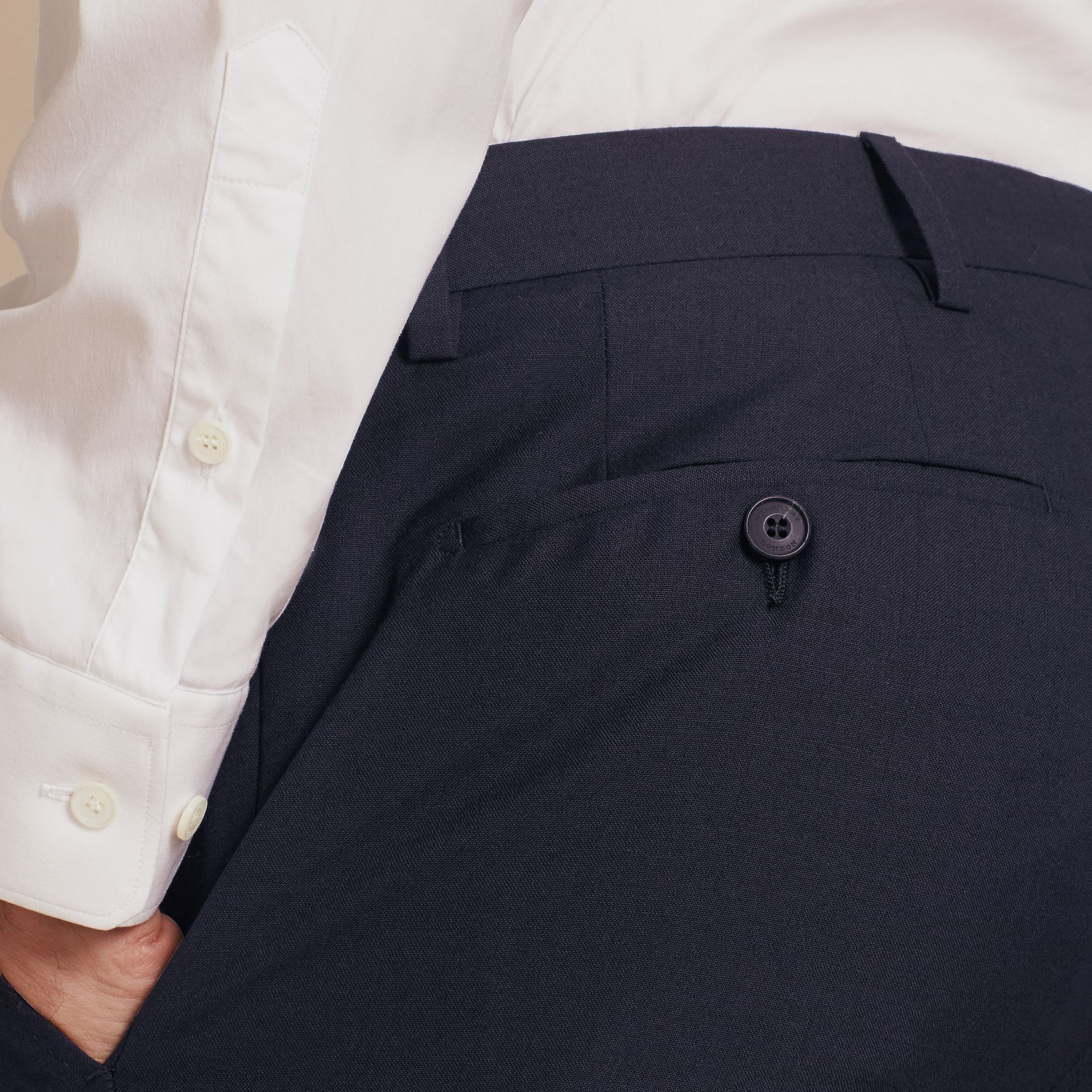Navy Modern Fit Wool Trousers Navy - gallery image 5