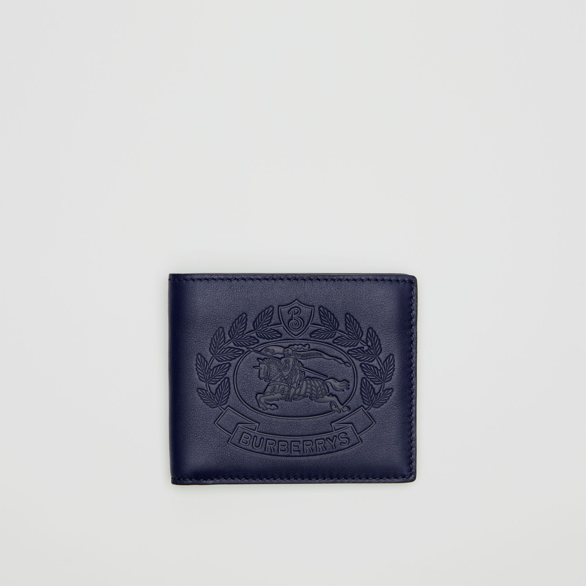 Embossed Crest Leather International Bifold Wallet in Regency Blue - Men | Burberry United Kingdom - gallery image 0