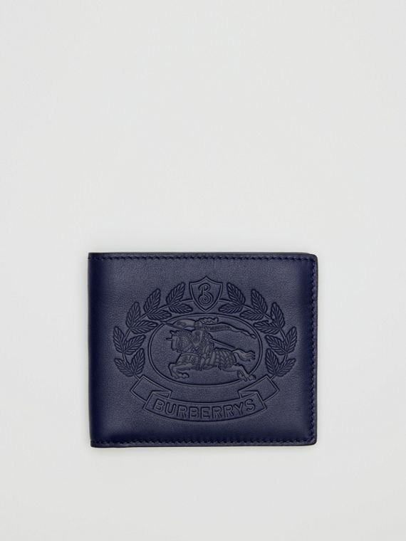Embossed Crest Leather International Bifold Wallet in Regency Blue