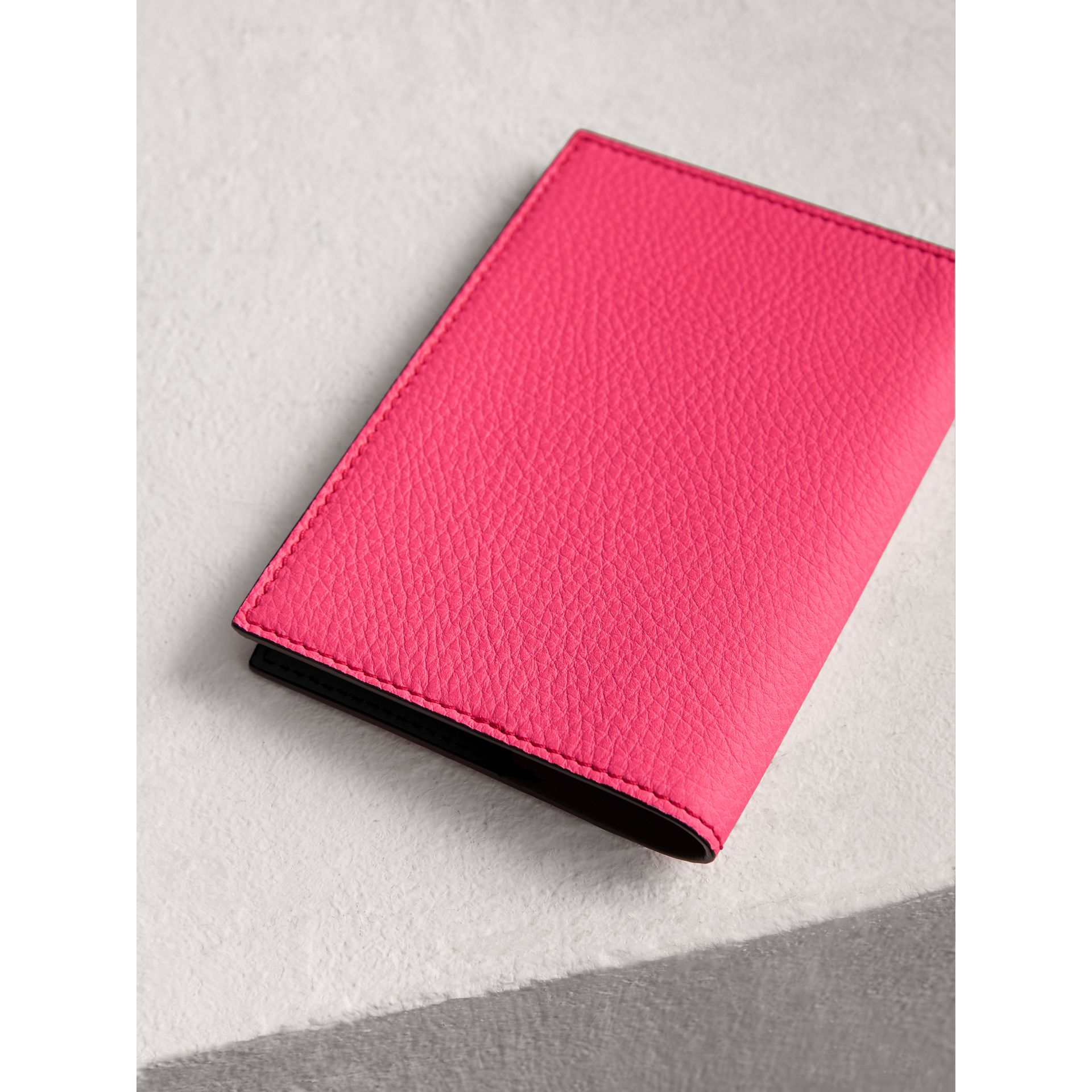 Embossed Leather Passport Holder in Bright Pink | Burberry - gallery image 2