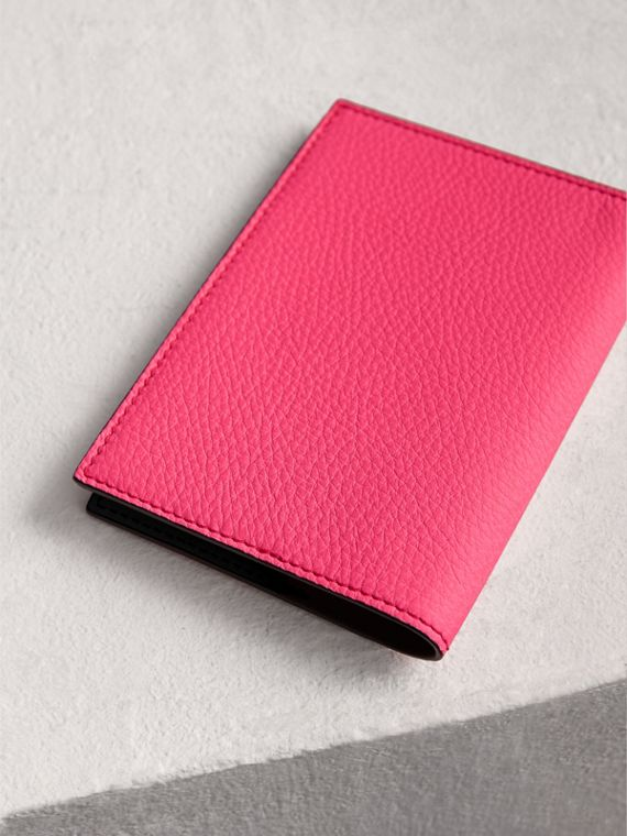 Embossed Leather Passport Holder in Bright Pink | Burberry - cell image 2