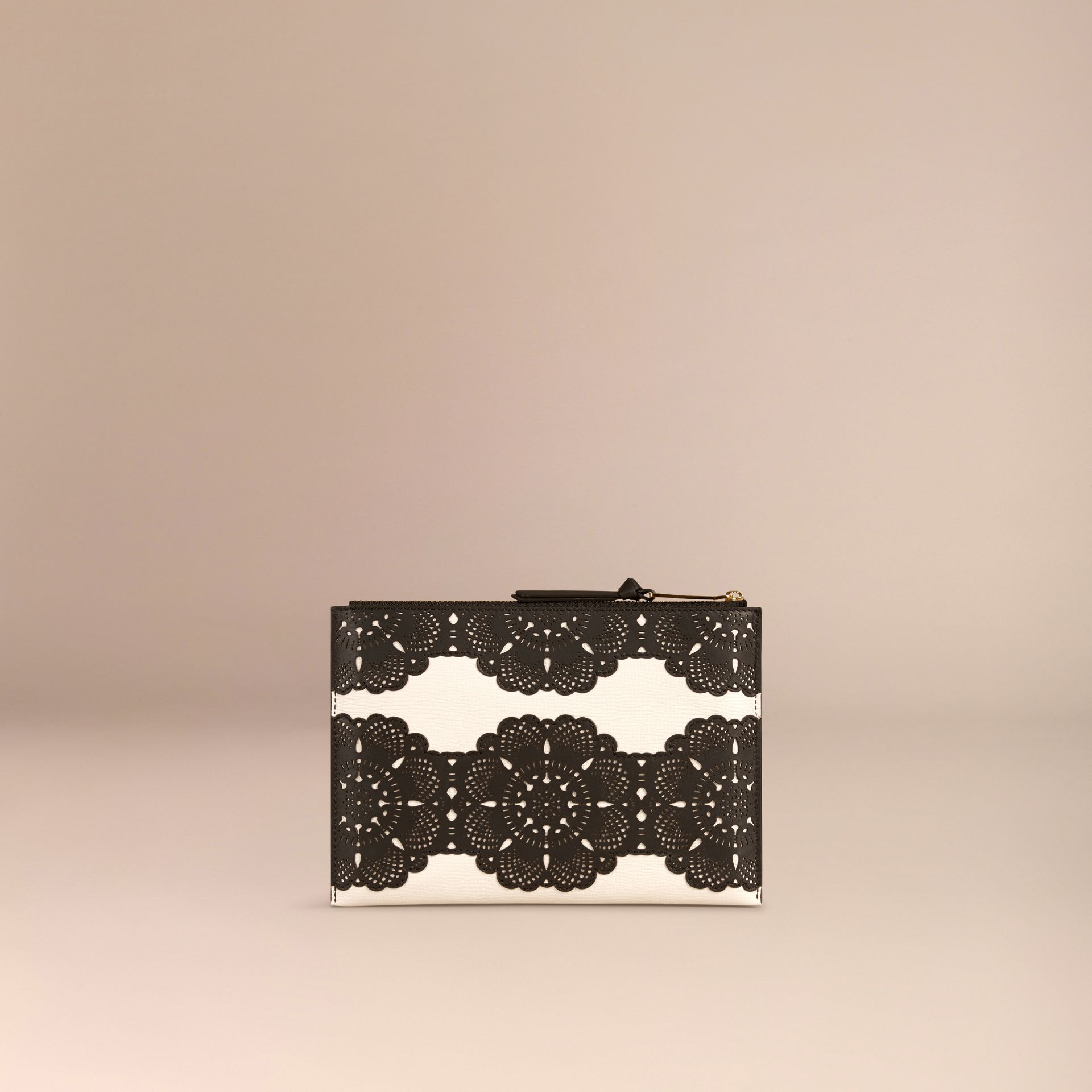 Natural Large Laser-cut Lace Leather Beauty Wallet - gallery image 4