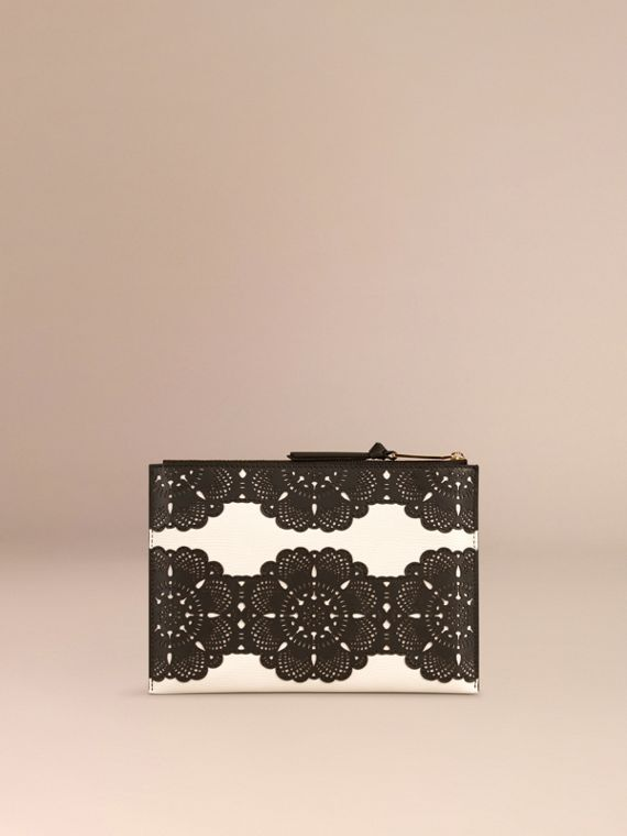 Natural Large Laser-cut Lace Leather Beauty Wallet - cell image 3