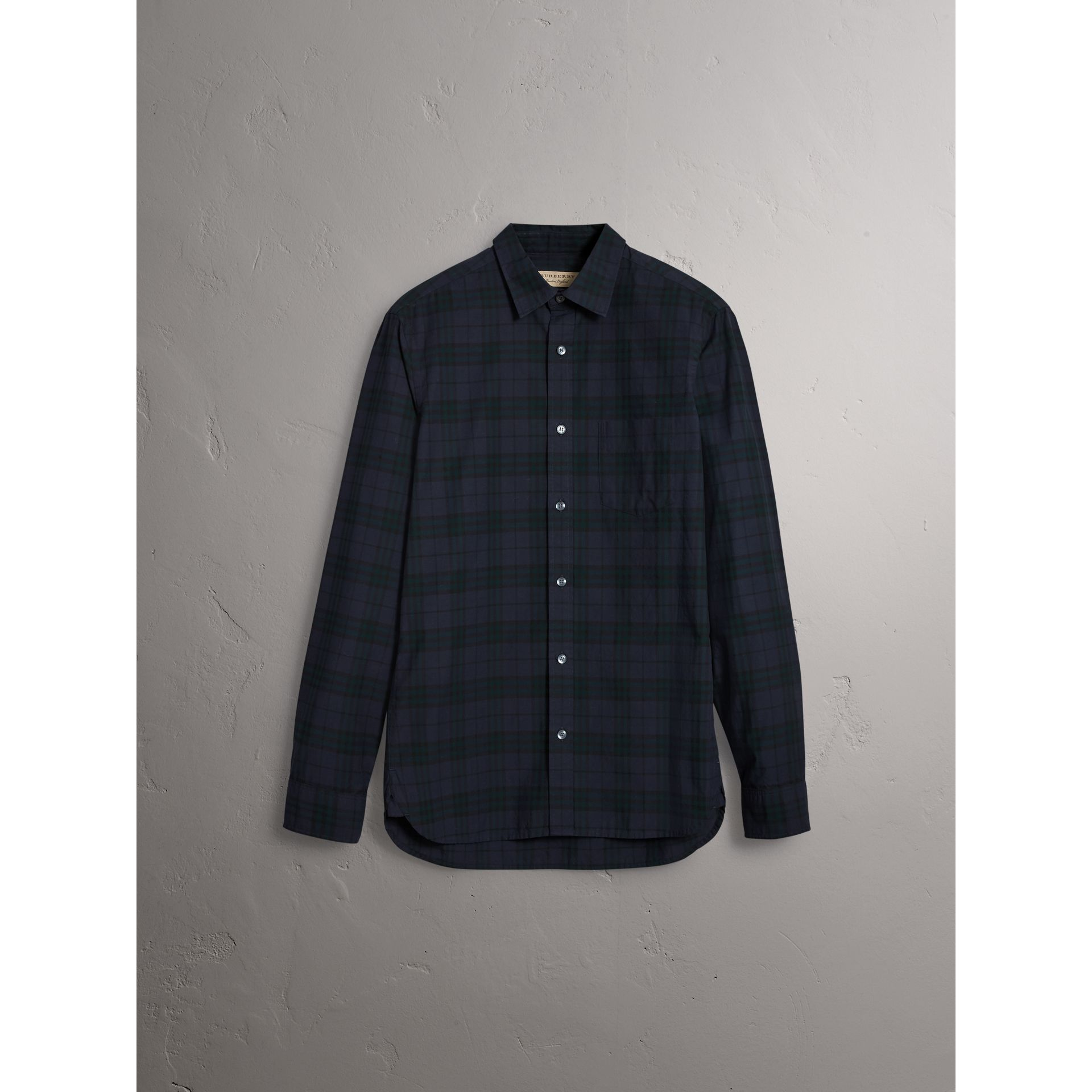 Check Cotton Shirt in Ink Blue - Men | Burberry Australia - gallery image 3