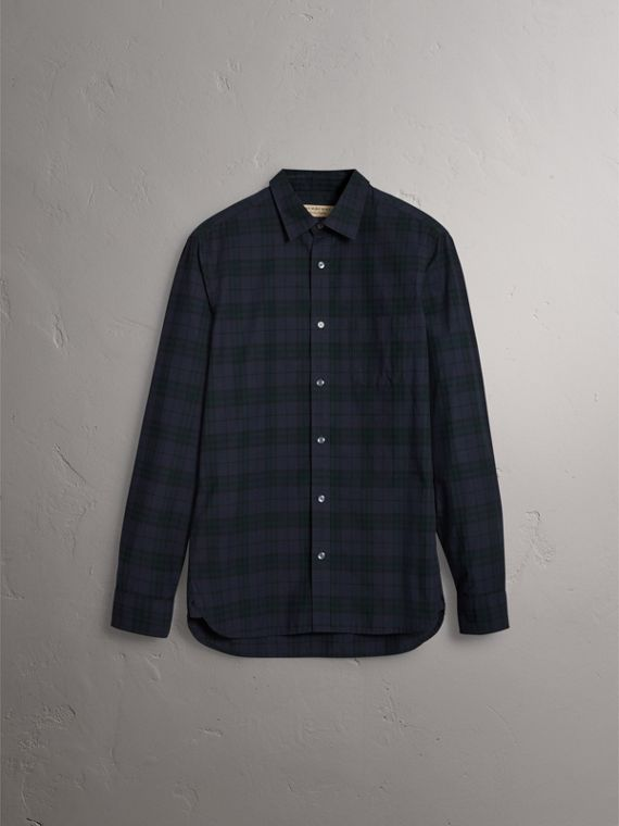 Check Cotton Shirt in Ink Blue - Men | Burberry United States - cell image 3