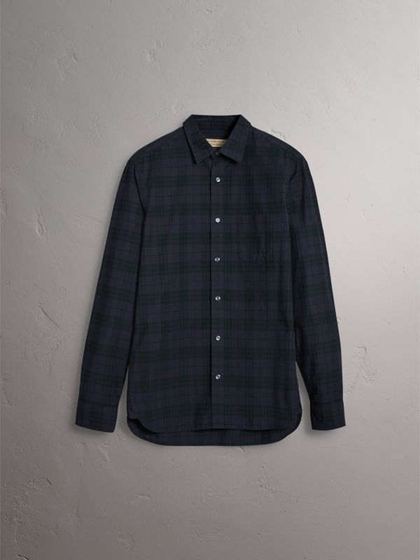 Check Cotton Shirt in Ink Blue - Men | Burberry Hong Kong - cell image 3