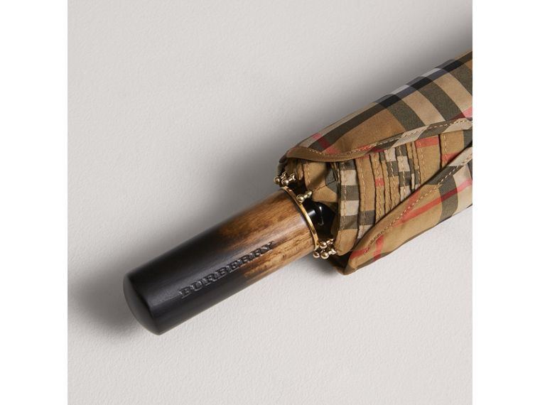 Vintage Check Folding Umbrella in Antique Yellow | Burberry - cell image 1