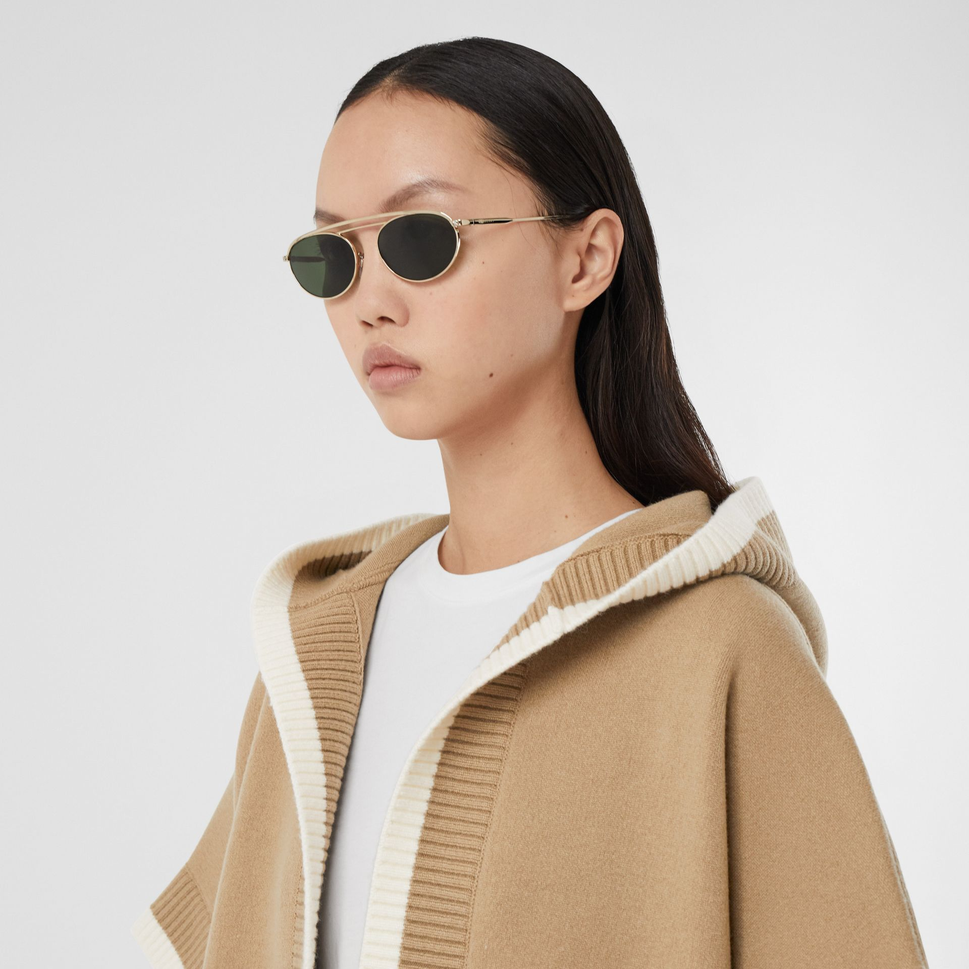 Logo Graphic Wool Cashmere Jacquard Hooded Cape in Archive Beige - Women | Burberry United Kingdom - gallery image 1