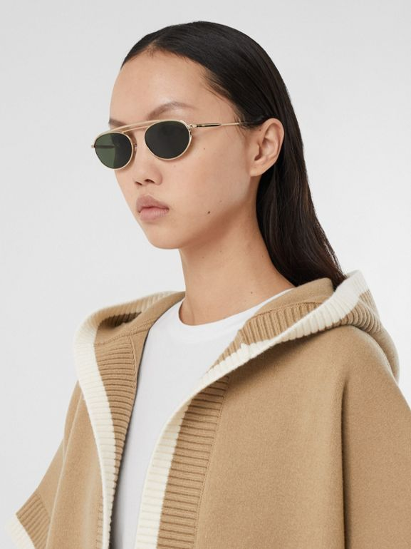 Logo Graphic Wool Cashmere Jacquard Hooded Cape in Archive Beige - Women | Burberry United Kingdom - cell image 1