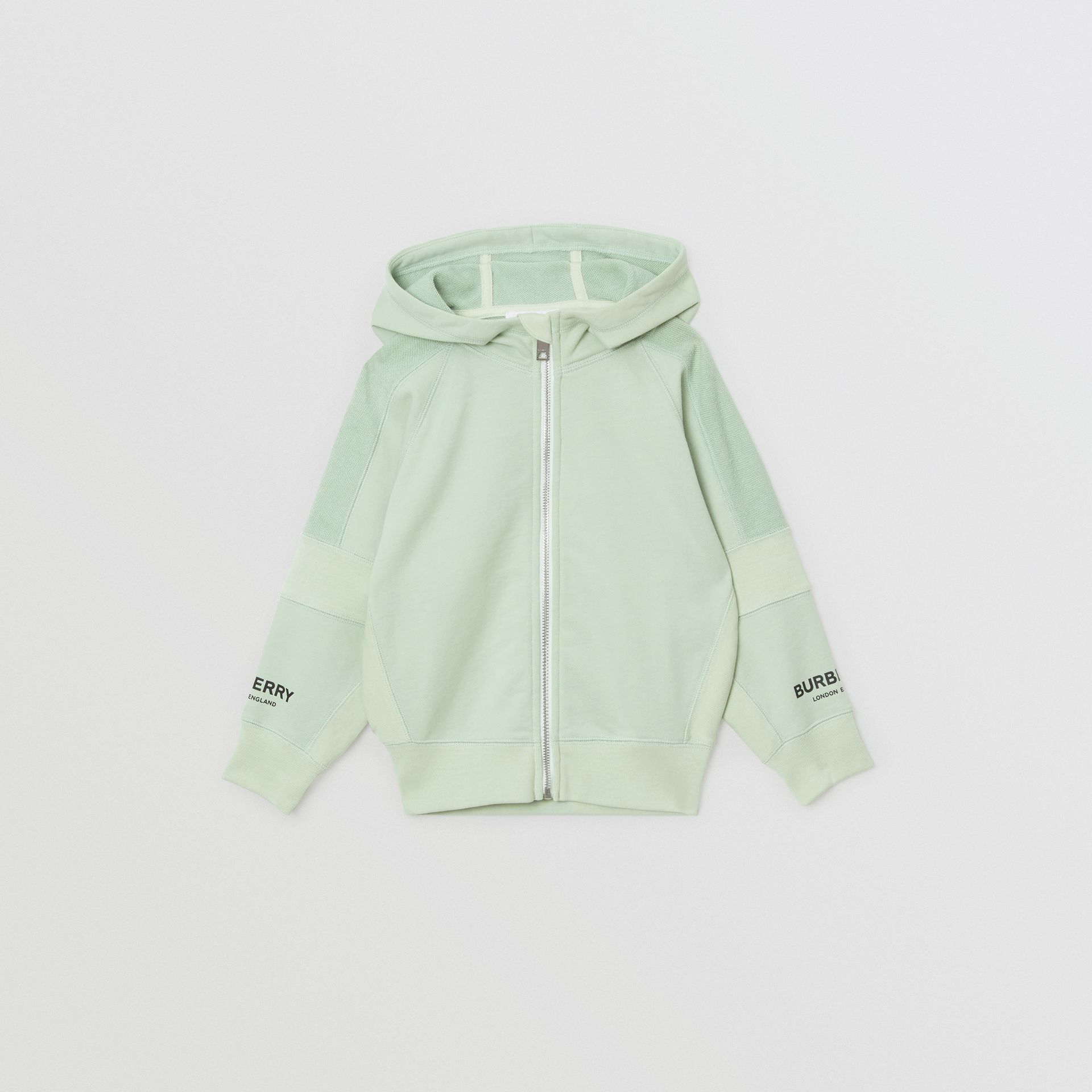 Logo Print Cotton Hooded Top in Pale Mint | Burberry - gallery image 0