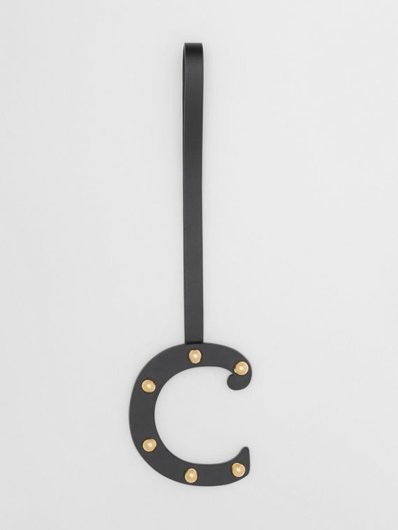 'C' Studded Leather Alphabet Charm in Black/light Gold