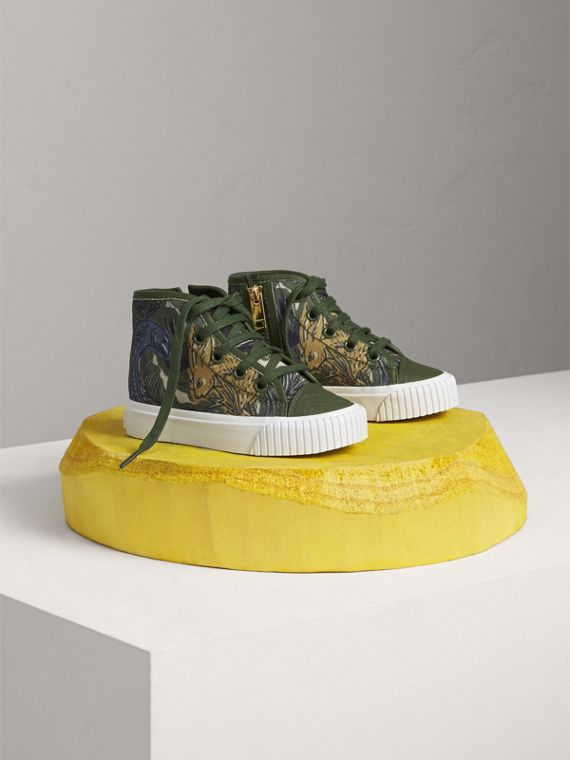 Beasts Print Cotton and Leather High-top Trainers | Burberry