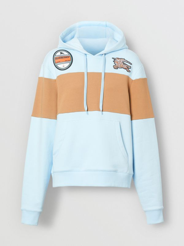 Logo Graphic Panelled Cotton Oversized Hoodie in Pale Blue - Women | Burberry - cell image 3