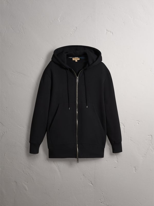 Embroidered Motif Oversize Hooded Cotton Jersey Top in Black - Men | Burberry - cell image 3