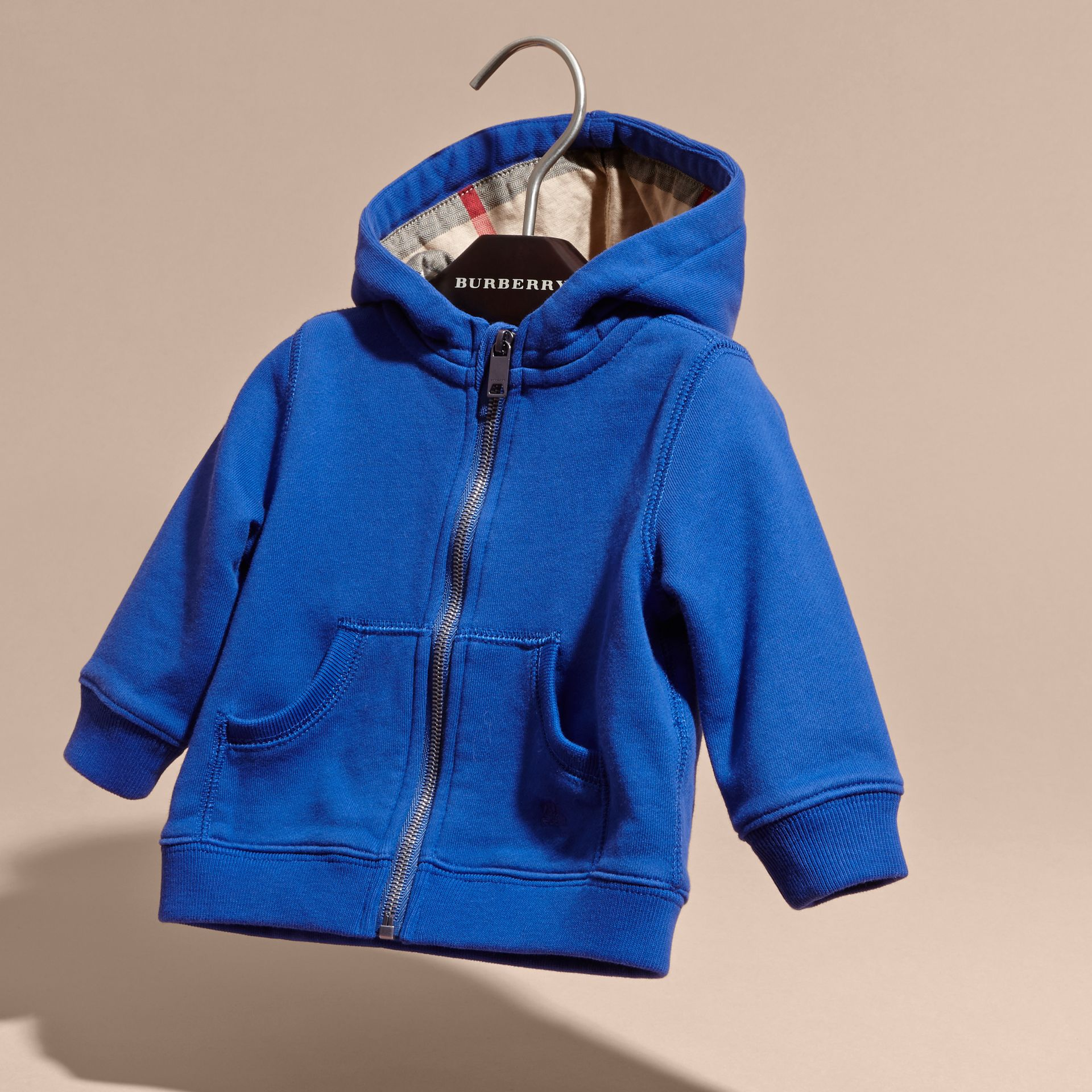Brilliant blue Check Detail Hooded Cotton Top - gallery image 3