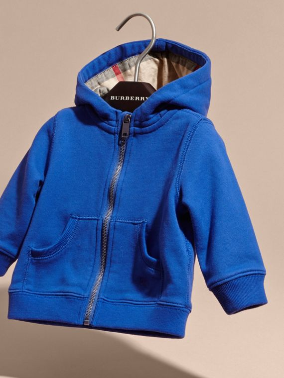 Brilliant blue Check Detail Hooded Cotton Top - cell image 2