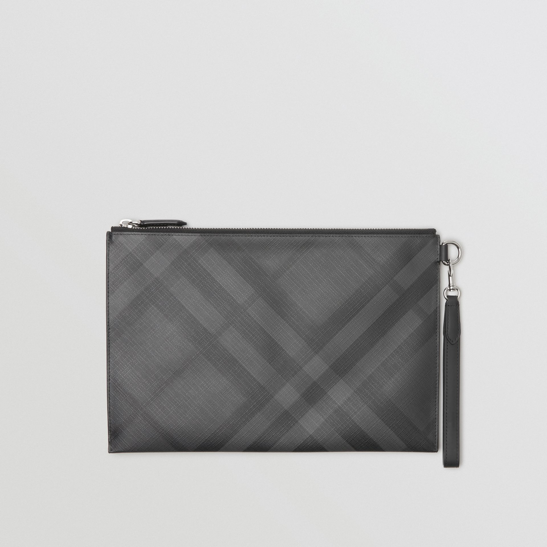 London Check Zip Pouch in Charcoal/black | Burberry Australia - gallery image 3