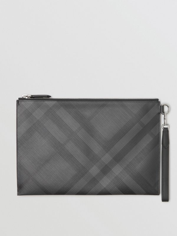 London Check Zip Pouch in Charcoal/black | Burberry Australia - cell image 3