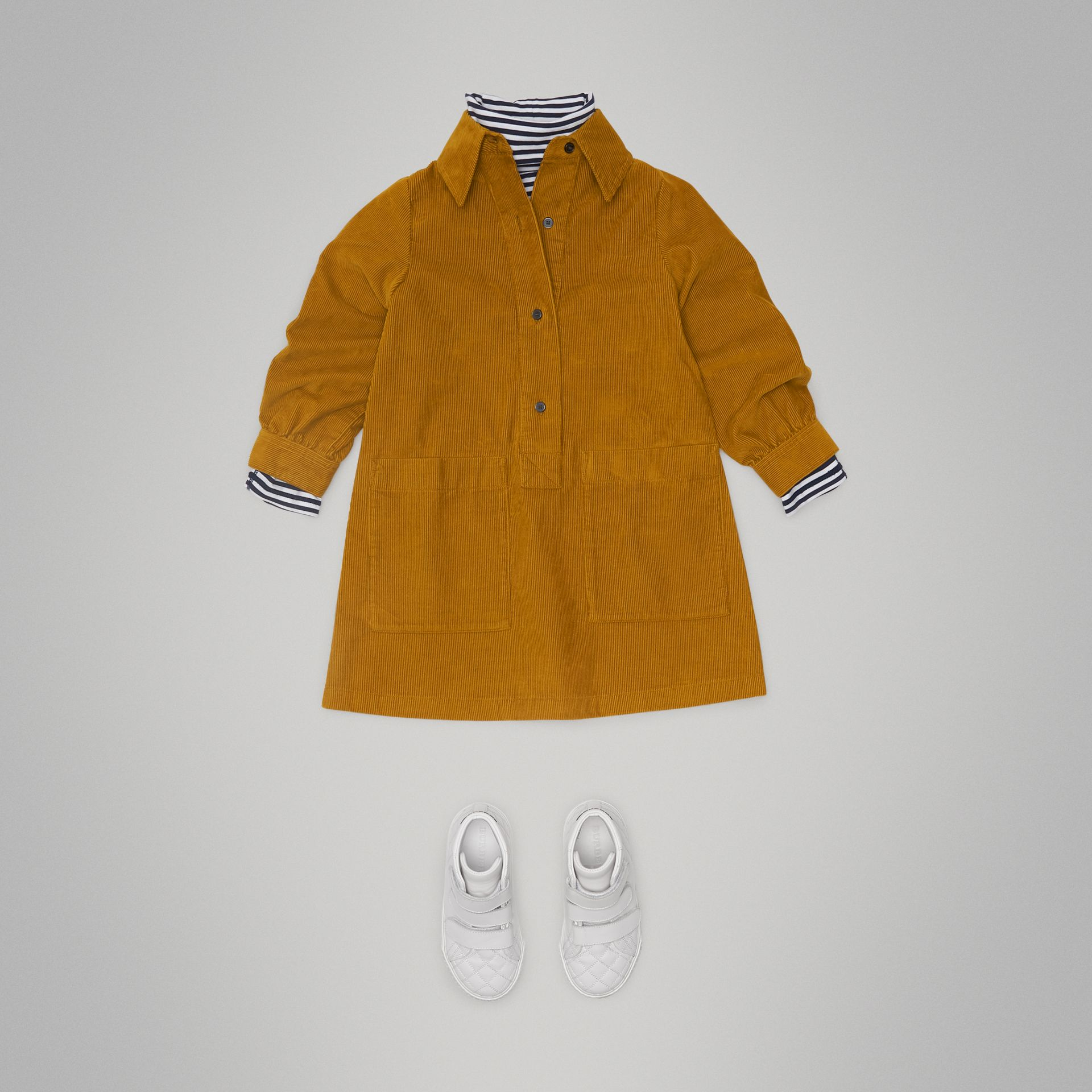 Corduroy Shirt Dress in Ochre - Girl | Burberry - gallery image 2