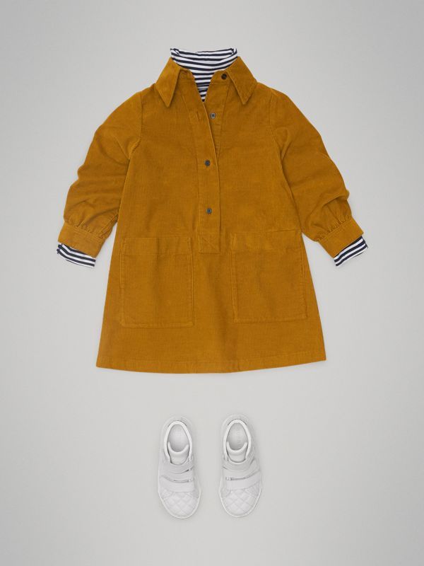 Corduroy Shirt Dress in Ochre - Girl | Burberry - cell image 2