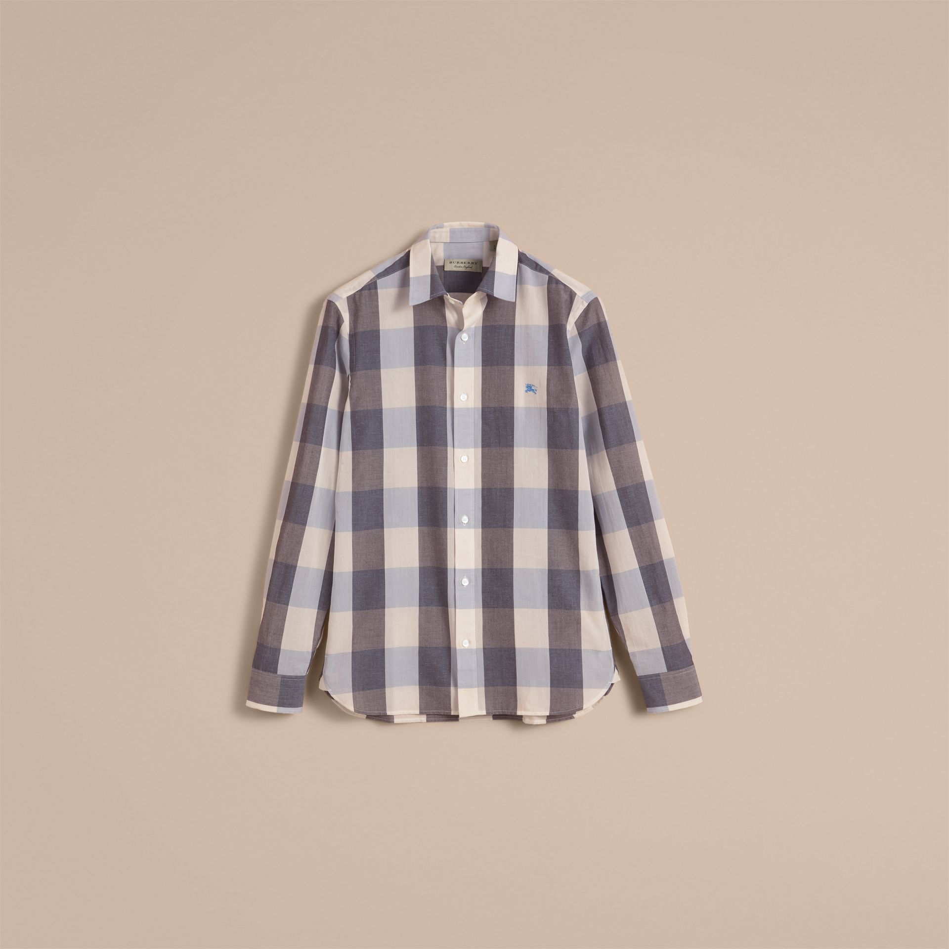 Oversize Gingham Cotton Linen Shirt in Pale Cornflower Blue - gallery image 4
