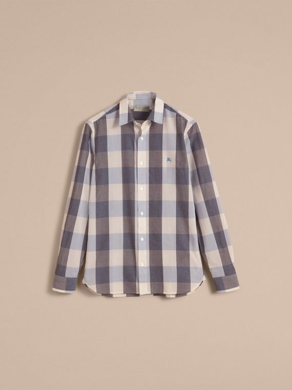 Oversize Gingham Cotton Linen Shirt in Pale Cornflower Blue - cell image 3