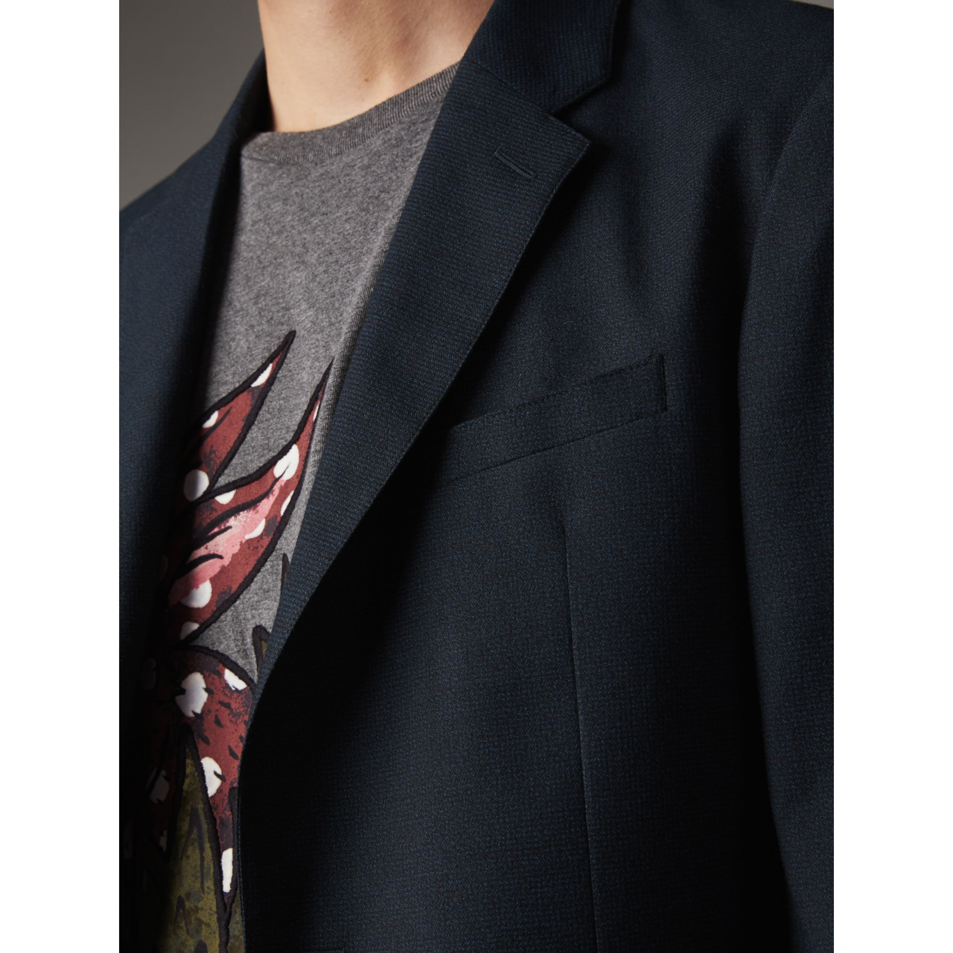 Micro Houndstooth Cotton Wool Blend Blazer in Navy - Men | Burberry United Kingdom - gallery image 2