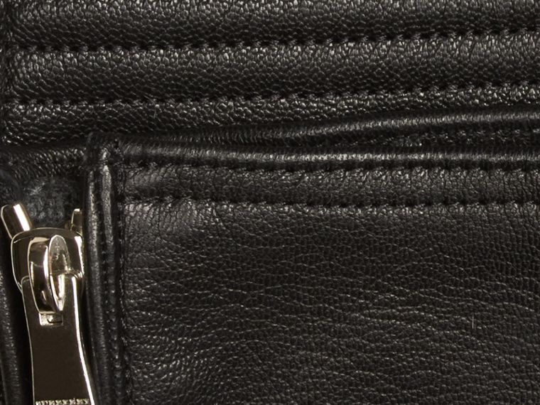 Noir Gants en cuir de style motard - cell image 1