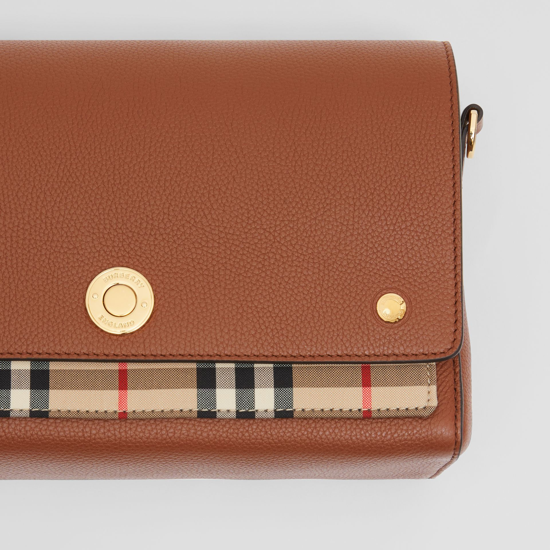 Leather and Vintage Check Note Crossbody Bag in Tan - Women | Burberry United Kingdom - gallery image 1