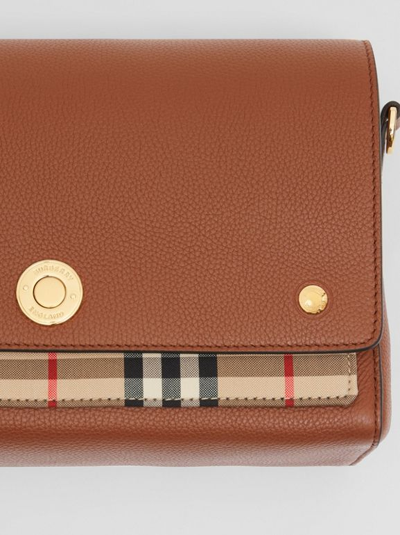 Leather and Vintage Check Note Crossbody Bag in Tan - Women | Burberry United Kingdom - cell image 1