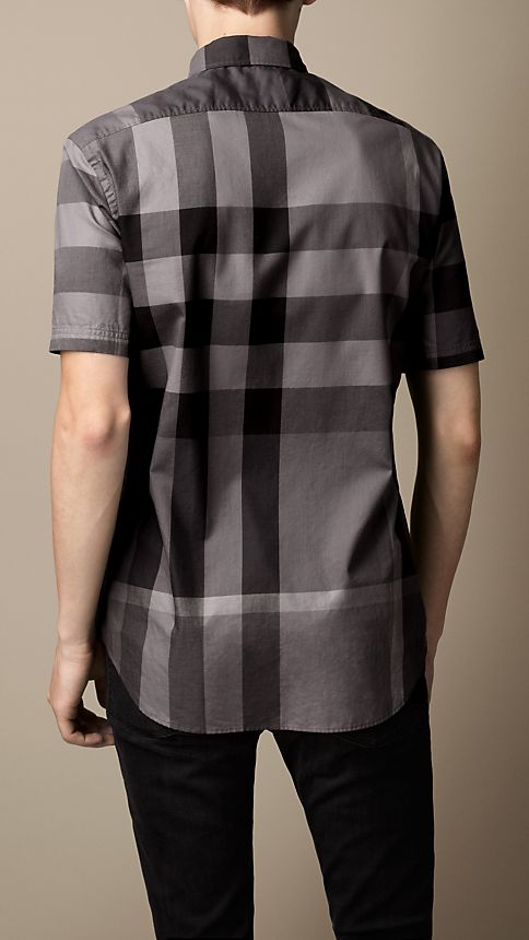 Charcoal Short-sleeved Check Cotton Shirt Charcoal - Image 2