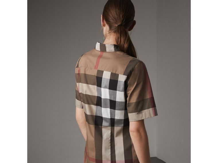 Short-sleeved Check Cotton Shirt in Taupe Brown - Women | Burberry - cell image 1