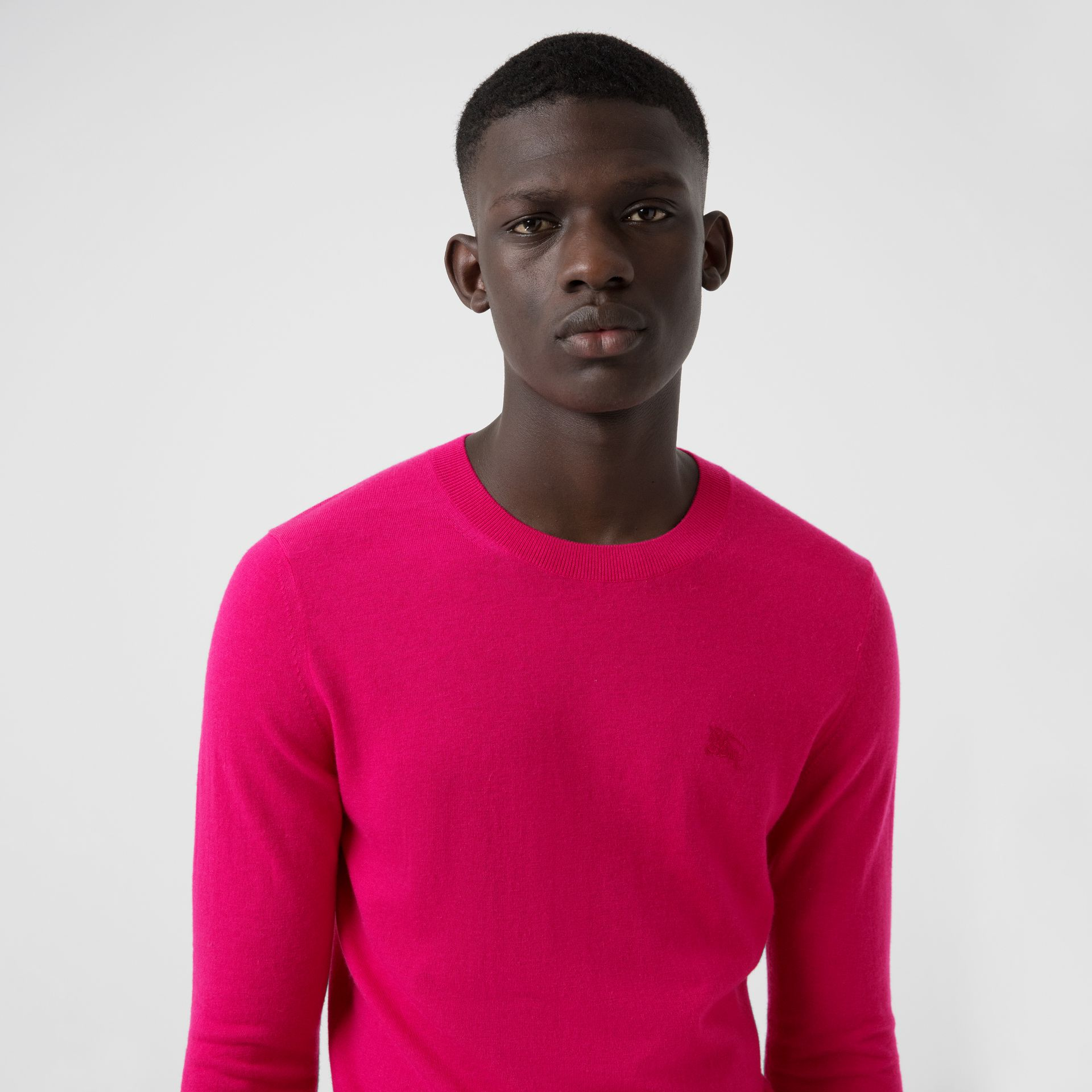 Crew Neck Cashmere Sweater in Bright Pink - Men | Burberry - gallery image 1