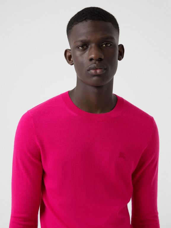 Crew Neck Cashmere Sweater in Bright Pink - Men | Burberry - cell image 1