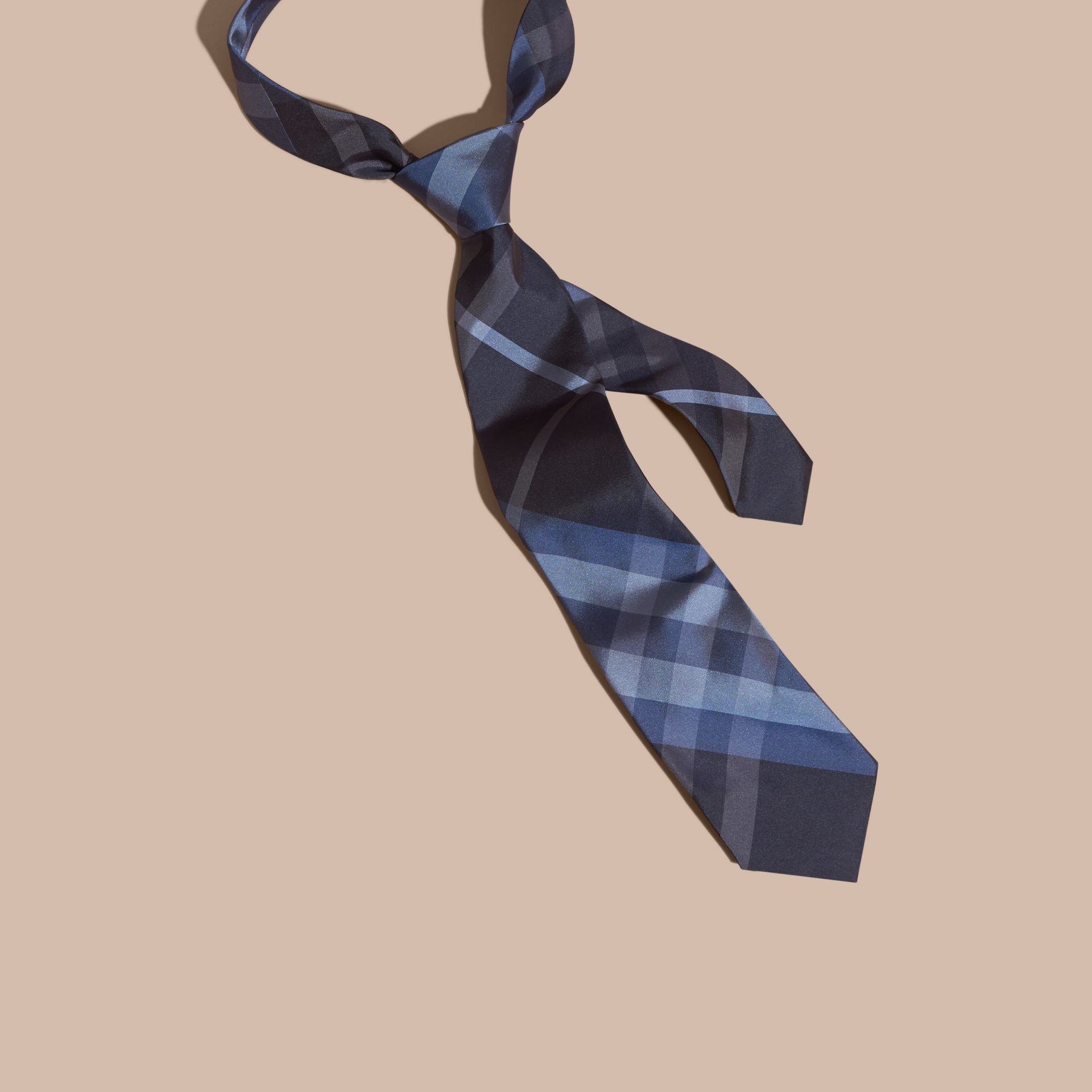 Hydrangea blue Classic Cut Check Silk Tie Hydrangea Blue - gallery image 1