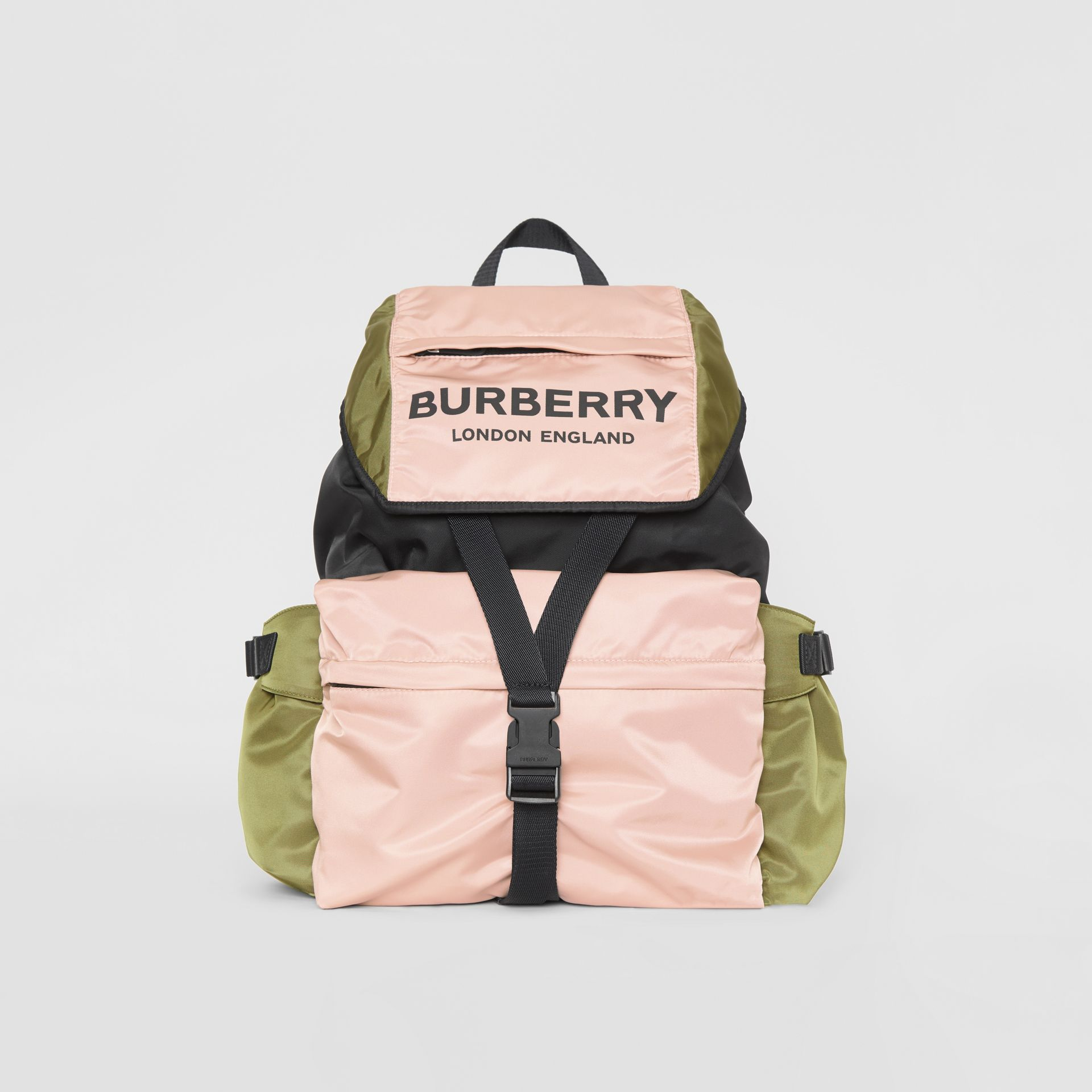 Logo Print Tri-Tone Nylon Backpack in Rose Beige - Women | Burberry - gallery image 0